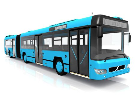 a blue city bus on white background