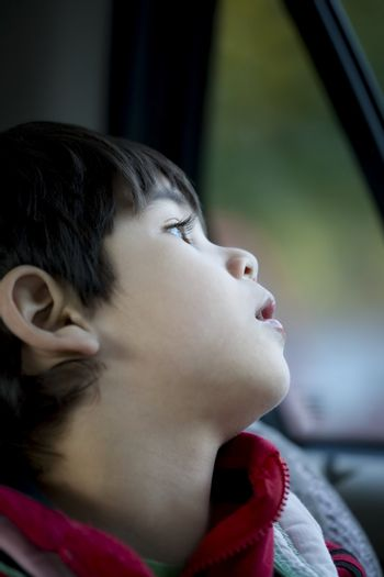 Handsome four year old boy looking quietly out car window