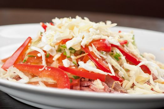 Salad from beef tongue, cervelat, chicken meat, fresh tomatoes, cucumbers, pepper, eggs, cheese and mayonnaise