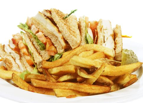 toasted chicken club sandwich with french fries