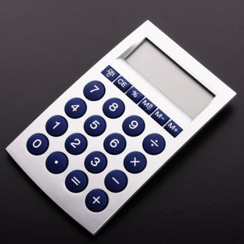calculator with blank and empty copyspace display