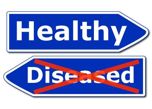 health concept with blue road sign isolated on white background