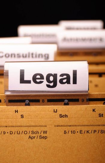 legal word on folder index showing law court or justice concept