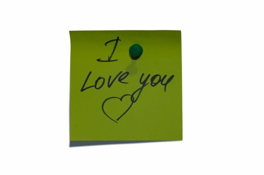 """Sticky post it note with """"Love You"""" wording."""
