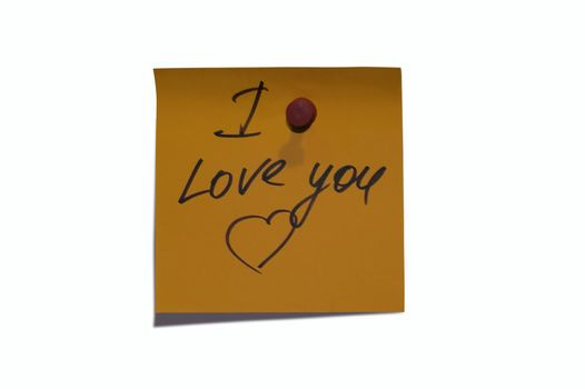 """Sticky post it note with """"I Love You"""" wording"""