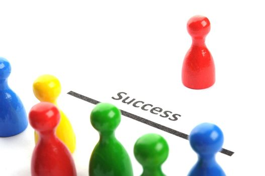 business success or winner concept with pawns on white