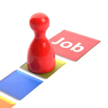job work or hired concept with pawn and word