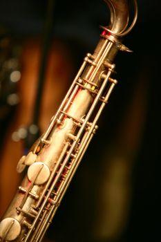 Vintage Saxophone on black background