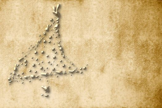 Christmas Card, parchment christmas tree sepia golden drops