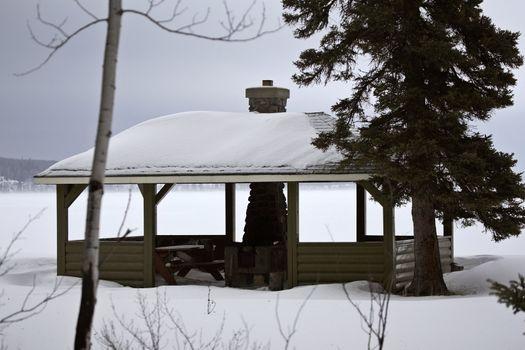 Picnic shelter at Waskesui Lake in winter
