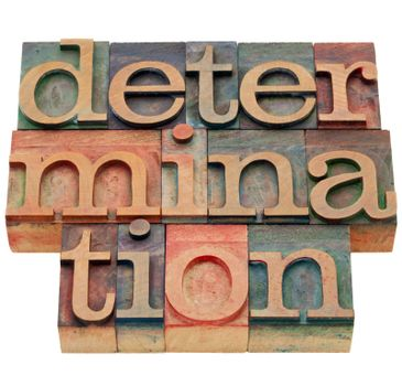 determination word in letterpress type