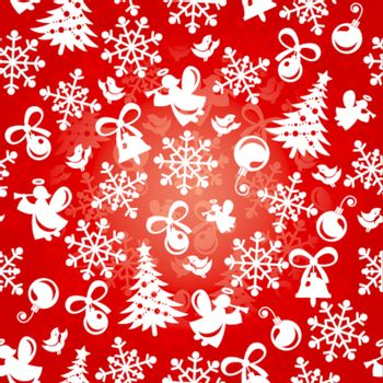 abstract seamless red christmas background vector illustration