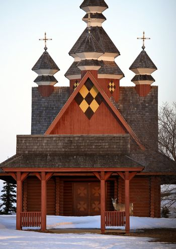Deer visiting Ukrainian Orthodox Church in winter
