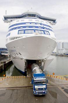 Ship transportation truck in Stockholm port,Sweden