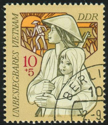 GERMANY- CIRCA 1970: stamp printed by Germany, shows Mother and Child, circa 1970.