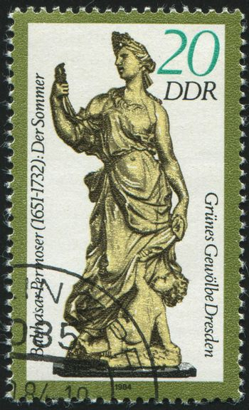GERMANY- CIRCA 1984: stamp printed by Germany, shows Figurines, Green Vault of Dresden, circa 1984.