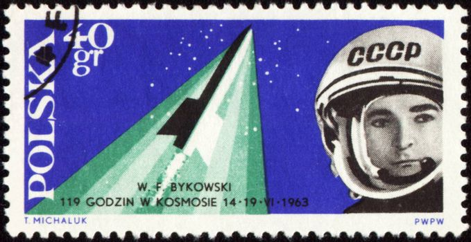 POLAND - CIRCA 1963: A stamp printed in Poland shows russian spaceship Vostok-5 with cosmonaut Valery Bykovsky, circa 1963