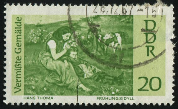 GERMANY- CIRCA 1967: stamp printed by Germany, shows Spring Idyl, by Hans Thoma, circa 1967.