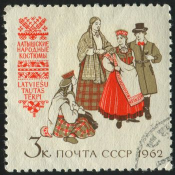 RUSSIA - CIRCA 1962: stamp printed by Russia, shows traditional costume, circa 1962.
