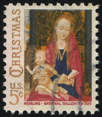 UNITED STATES - CIRCA 1966: stamp printed by United states, shows Madonna and Child, circa 1966.