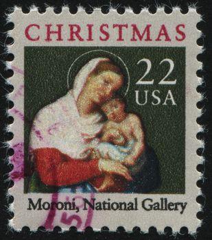 UNITED STATES - CIRCA 1987: stamp printed by United states, shows Moroni Madonna, circa 1987.