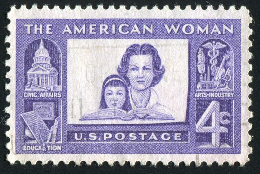 UNITED STATES - CIRCA 1960: stamp printed by United states, shows Mother and Daughter, circa 1960