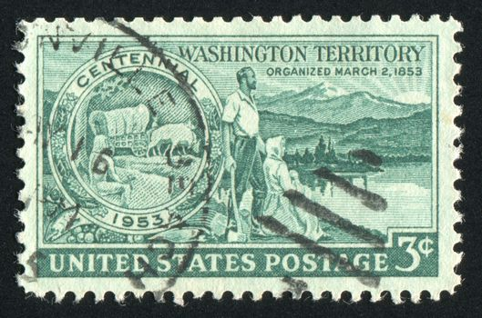 UNITED STATES - CIRCA 1953: stamp printed by United states, shows Medallion Pioneers and Washington Scene, circa 1953
