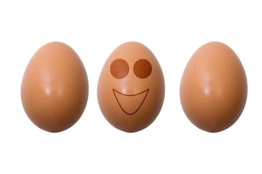Funny eggs on white background