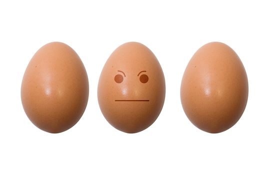 Eggs with smile - neutral. Isolation on white