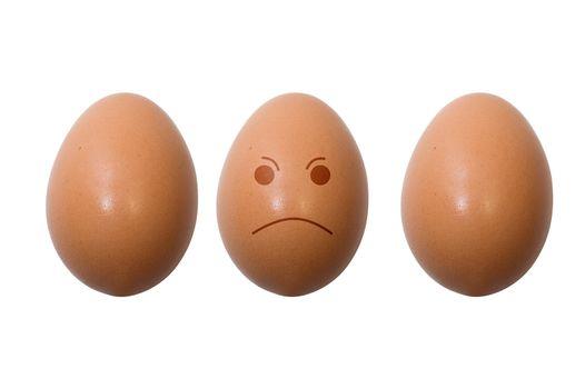 Eggs with smile - sad. Isolation on white