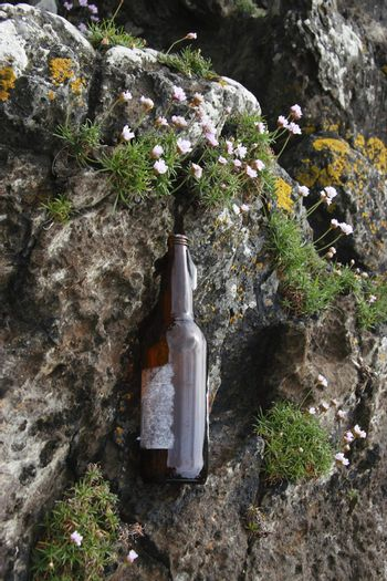 bottle on the cliff edge