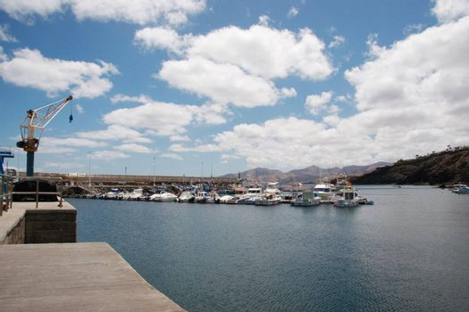the old town harbour in lanzarote