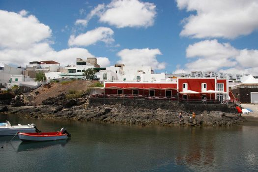 the old town harbour in a lanzarote town