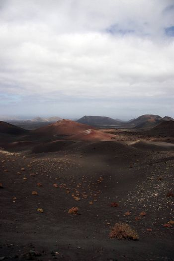the volcanic landscape in the middle of the desert