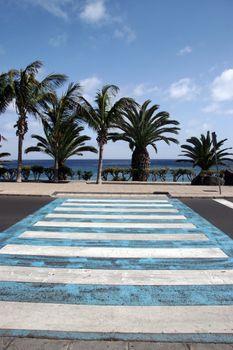 road crossing on the coast of lanzarote