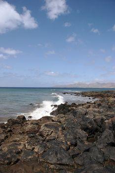 a view of the lanzarote coast line