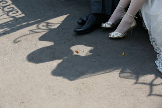 Shadow of the groom and the bride on asphalt