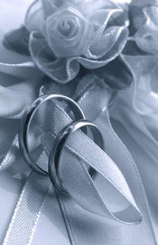 Wedding rings. b/w + blue tone