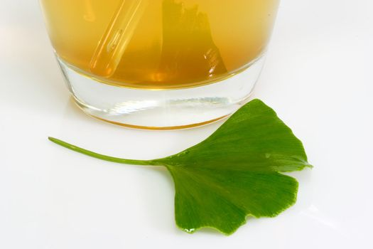 Fresh Ginkgo Biloba leaf with a glass of tea.
