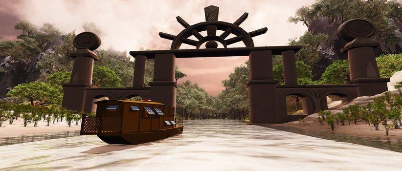 A junk boat travels under a gate to a mysterious gorge.