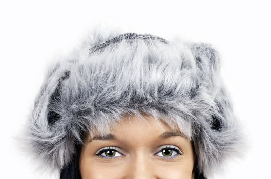 Eyes and furry grey hat