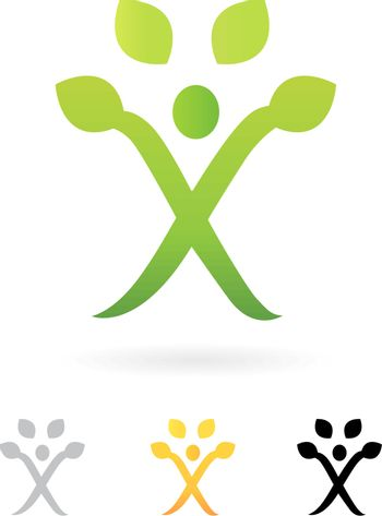 Wellness or fit sign / icon isolated on white. Vector