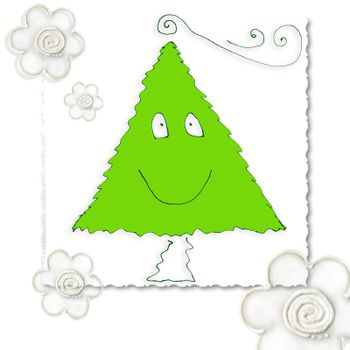 funny christmas card, child's drawing fir