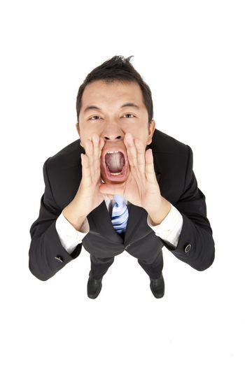 excited businessman with shouting