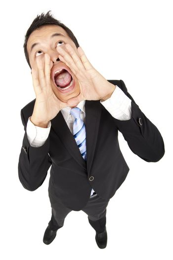businessman looking above and shouting