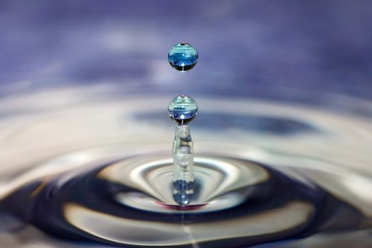 A column of water forms after a water drop hits.
