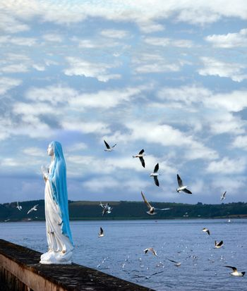 statue of the virgin mary with seagulls