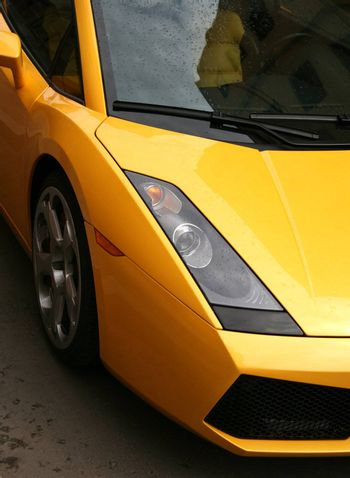 Detail of the magnificent yellow automobile