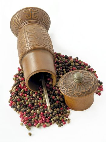 pepper grains and mill