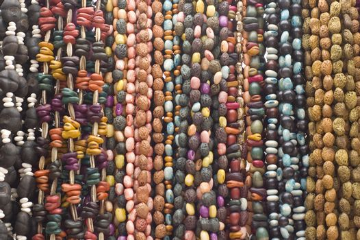Bead necklaces hanging for sale in a market in Mexico